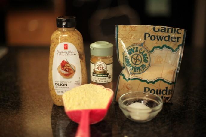 Coating ingredients: mustard, cayenne, garlic powder, salt, chickpea flour