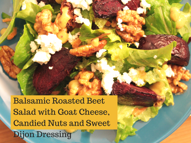 beet salad with goat cheese and candied nuts